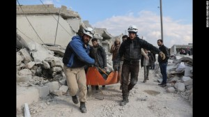 "These brave civilian volunteers (the ""White Helmets"") spend their days rescuing their fellow citizens from the rubble, or removing dead bodies."