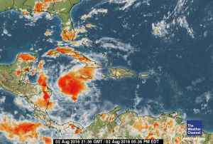 Tropical Storm Earl (the large orange blob) is moving away from us. Tomorrow we might even see some sun!