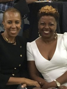 Minister of State in the Ministry of Finance and Planning Fayval Williams (left) and Founder of the Caribbean's regional crowdfunding platform. @pitchandchoose Cecile Watson at the launch of FundRiseHER (Photo: Marcia Forbes/Twitter)