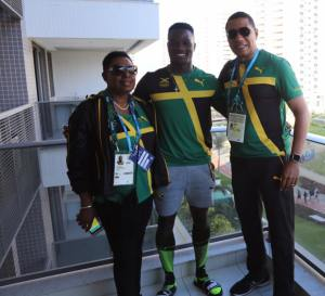 Gold medal winner Omar McLeod (centre) with Sports Minister Olivia Grange and Prime Minister Andrew Holness before his race in Rio. (Photo: Andrew Holness/Twitter)