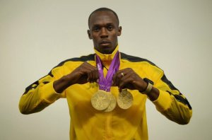 "The ""Triple Triple"" man, Usain Bolt. (Photo tweeted by Cristiano Ronaldo on Twitter)"
