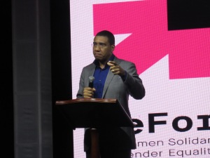 Prime Minister Andrew Holness spoke passionately on the topic of gender-based and other types of violence at last week's launch of the He For She campaign in Jamaica. (My photo)