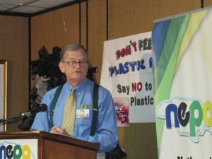 Acting Country Director of the U.S. Peace Corps, Mr. George Like, speaks at the launch of the Trash Free Waters Initiative at NEPA offices last week. The Peace Corps has over 30 volunteers working in the environmental field in Jamaica. (My photo)