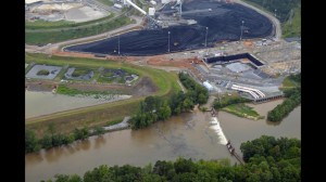 An aerial view of the polluted Broad River in North Carolina, near a coal plant operated by Duke Energy. (Photo: Fox 46 News)