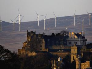 Wind turbines outside Stirling Castle in Scotland. (Getty Images)