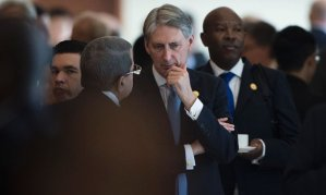 Philip Hammond, the UK chancellor, with delegates at the G20 finance ministers' meeting in Chengdu in July. Photograph: Fred Dufour/AFP/Getty Images