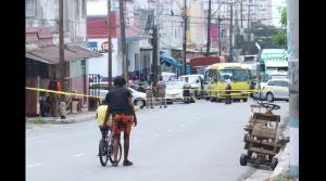 The scene of a shooting incident on Charles Street, downtown Kingston this week, in which a man was killed by the police. (Photo: Loop Jamaica)
