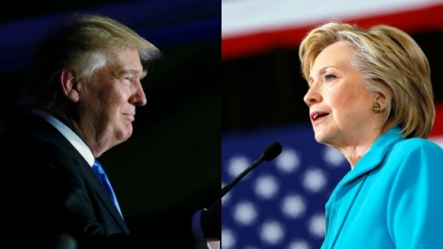 Donald Trump and Hillary Clinton will face-off Monday Sept. 26, 2016, in their first debate of the 2016 presidential campaign. It is the first of three debates between the Republican and Democratic candidates. (Carlo Allegri, Aaron P. Bernstein/Reuters )