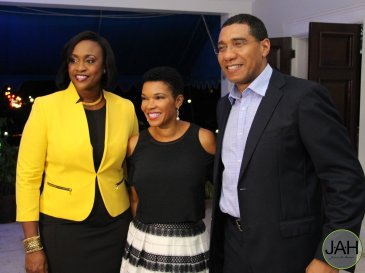 Businesswoman Audrey Marks (center) has been once again appointed as Jamaica's Ambassador to the United States. She previously served in this position from 2010 - 2012. Here she is with Andrew and Juliet Holness. (Photo: Twitter)