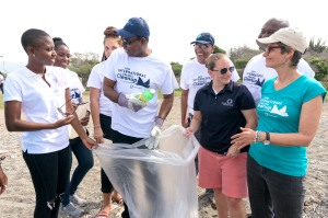 """Left to right: Entertainer Toni """"Bella"""" Blair, Tourism Minister Hon. Edmund Bartlett, Executive Director of TEF Clyde Harrison, Senior Manager at the Ocean Conservancy Allison Schutes and JET CEO Diana McCaulay at the JET cleanup of Fort Rocky marking ICC 2016 – Saturday, September 17. (Photo: Jamaica Environment Trust)"""