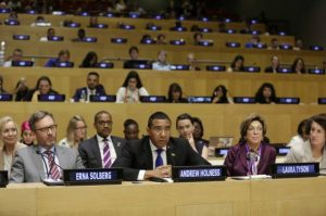 Prime Minister Andrew Holness announces Jamaica's ratification of the ILO Convention C 189 (also known as Domestic Workers Convention) during his participation in the deliberations on a report by the United Nations High Level Panel on Economic Empowerment of Women at UN Headquarters in New York on Thursday, September 22. Seated behind the Prime Minister is Jamaica's Permanent Representative to the United Nations (UN) Ambassador Courtenay Rattray.