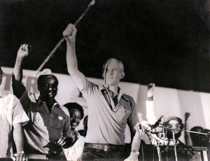 "Michael Manley ""in his ackee"" (or in his element) during a rally, with his famous ""Rod of Correction."" (Photo: Michael Manley Foundation website)"