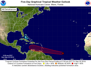 """This system is approaching the Caribbean, and is likely to """"develop"""" into something like a storm within five days or so."""