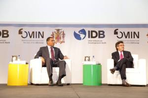 Prime Minister Andrew Holness with President of the Inter-American Development Bank (IDB) at FOROMIC in Montego Bay. (Photo: Office of the Prime Minister)