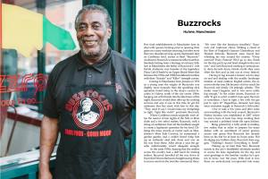 Basil Anderson came to the UK from Jamaica in 1976. He became famous for his dumplings! Now the owner of Buzzrocks, in Hulme, Manchester. (Photo: Tezeta Press)