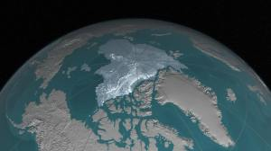 """NASA says: """"Arctic sea ice, the vast sheath of frozen seawater floating on the Arctic Ocean and its neighboring seas, has been hit with a double whammy over the past decades: as its extent shrunk, the oldest and thickest ice has either thinned or melted away, leaving the sea ice cap more vulnerable to the warming ocean and atmosphere."""" (Photo: NASA Goddard)"""