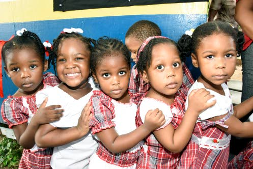 Little girls of the Jamaica House Basic School celebrate Culture Day last Thursday. (Photo: Lionel Rookwood/Jamaica Observer)