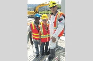 Project manager, Port Authority of Jamaica, Keith Mitchell (left); chief executive officer of the Jamaica Public Service, Kelly Tomblin; and senior manager at New Fortress Energy, Paul Richards, at the Port of Montego Bay on October 22, for the arrival of the liquefied natural gas vessel, which will supply the JPS Bogue power plant. (Photo: Jamaica Observer)