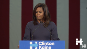 First Lady of the United States Michelle Obama, on the campaign trail for Hillary Clinton, speaking in New Hampshire on October 13.