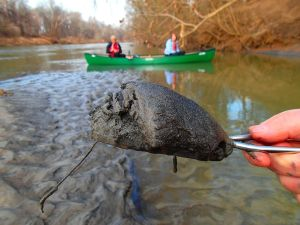 Coal ash pulled from the bottom of the Dan River near the site of the Duke Energy spill in Eden, N.C. in February, 2014. (Photo courtesy of Dan River Basin Association/National Geographic)