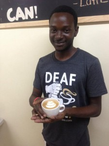 Carlyle Gabbidon at Deaf Can Coffee. I have one of these nice T shirts! (Photo: Deaf Can Coffee)