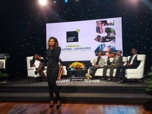 The singer Cecile - who appears to be reinventing herself away from dancehall - performed at the event. (Photo: Twitter)