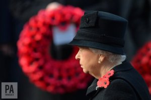 Queen Elizabeth II during the annual Remembrance Sunday Service at the Cenotaph memorial in London. (Photo: PA Images)