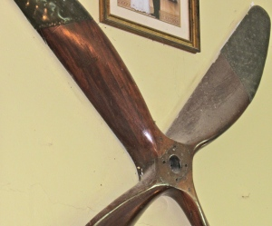 An old propeller on the wall at Curphey Place. (My photo)