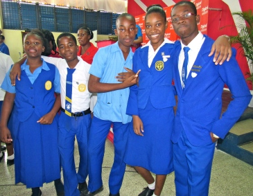 Students at Jose Marti Technical High School in St. Catherine at the launch of a Digicel Foundation Mobile Science Laboratory, this week. (My photo)