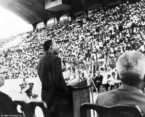 Dr. Martin Luther King, Jr. speaks to a large crowd at Jamaica's National Stadium in 1965. (Photo: Gleaner Archives/diG Jamaica)