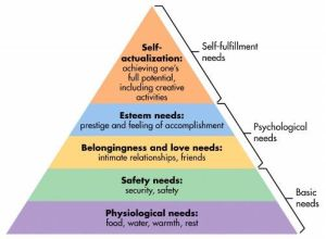 Psychologist Abraham Maslow's Hierarchy of Needs looks like this - a template for a good quality of life.