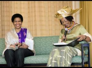 United Nations Under-Secretary-General, and Executive Director of UN Women Phumzile Mlambo-Ngcuka (left) shares a laugh with Director of the University of West Indies Institute for Gender and Development Studies Professor Verene Shepherd during a discussion at UWI earlier this month. (Photo: Darien Robertson/Gleaner)