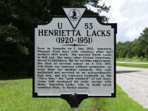A sign memorializing Henrietta Lacks in her birthplace in Clover, Virginia. (Photo: Wikipedia Commons. By Emw - Own work, CC BY-SA 3.0.)