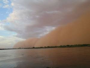 A sandstorm near the Nile in Sudan.