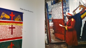 Elijah (Geneva Mais Jarrett) in her Revival Yard in Rose Town. The exhibit includes extra-large color photographs of most of the artists alongside their work - smiling, genial, thoughtful faces. (My photo)