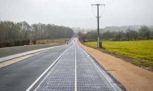 A test phase will evaluate whether the solar panel road can provide enough energy to power street lighting. Photograph: Christophe Petit Tesson/EPA