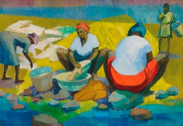 Washer women, by Barrington Watson was one of five historic paintings at the National Gallery of Jamaica restored under the Ambassadors Fund for Cultural Preservation in 2009.