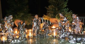 From Christian Twitter friends, a beautiful silver Nativity with candles.