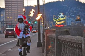 Portland, Oregon has a reputation for nuttiness. This was one of my favorite Christmas photos, frequently tweeted… a Santa on a unicycle playing - yes - flaming bagpipes!