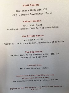 The Program for the signing of the Partnership for a Prosperous Jamaica agreement at King's House today. The Opposition was not represented. (Photo: @marciaforbes/Twitter)