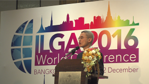 Professor Vitit Muntarbhorn, the first-ever UN Independent Expert on Sexual Orientation and Gender Identity, delivering a keynote speech at the ILGA World Conference recently.
