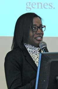 Dr. Aisha S. Dickerson of Harvard University speaking at the University of the West Indies Medical Sciences Building in Mona on December 13. (My photo)