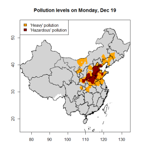 Pollution levels in northern China on December 19, 2016.