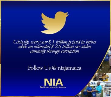 National Integrity Action (NIA) is tweeting! Do follow them. They are doing great work in fighting corruption and raising awareness on transparency and accountability in Jamaica.