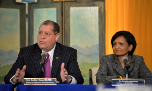 Finance Minister Audley Shaw speaks at the 13th International Monetary Fund (IMF) quarterly review media briefing in August 2016, with the Head of the IMF Staff Mission Team to Jamaica, Dr Uma Ramakrishnan. (Photo: JIS)