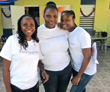 """Three beautiful """"Mentor Moms"""" of Eve for Life at the launch of """"Nuh Guh Deh"""" in November, 2013. They provide support, advice - and especially, loving care - to mothers in their teens and early 20s, most of whom are living with HIV. (My photo)"""