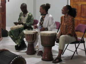 "A celebration of our culture: The Akwaaba Drummers set the mood for the launch of Olive Senior's ""The Pain Tree"" at the University of the West Indies during Kingston Book Festival. (My photo)"