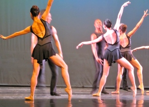 The men are moving quite fast in this photo, while the women pose - gracefully. The Dance Theater of Harlem at the Little Theatre in Kingston, May 2012. (My photo)