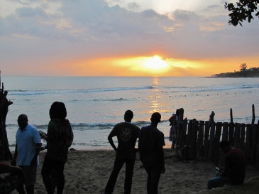 Ambience often involves people, in a certain setting. Here's a photo I took at sunset in Treasure Beach, St. Elizabeth. People just hanging out on the beach, conversations, a bit of daydreaming, perhaps. I took this photo at the Calabash International Literary Festival back in 2012.