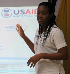 JamHabitat's GIS Specialist Sherece James explains the procedure for data gathering and GIS mapping of the area. (My photo)